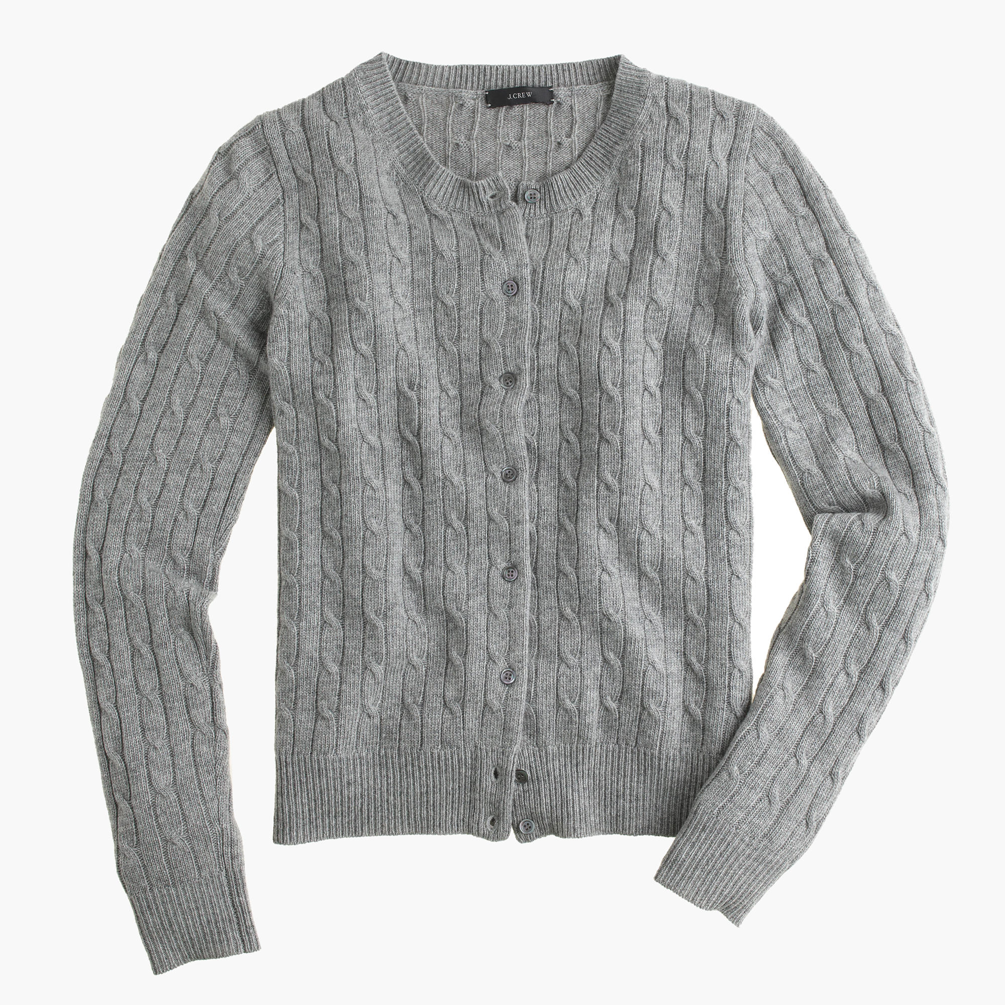 J.crew Cambridge Cable Cardigan Sweater in Gray | Lyst