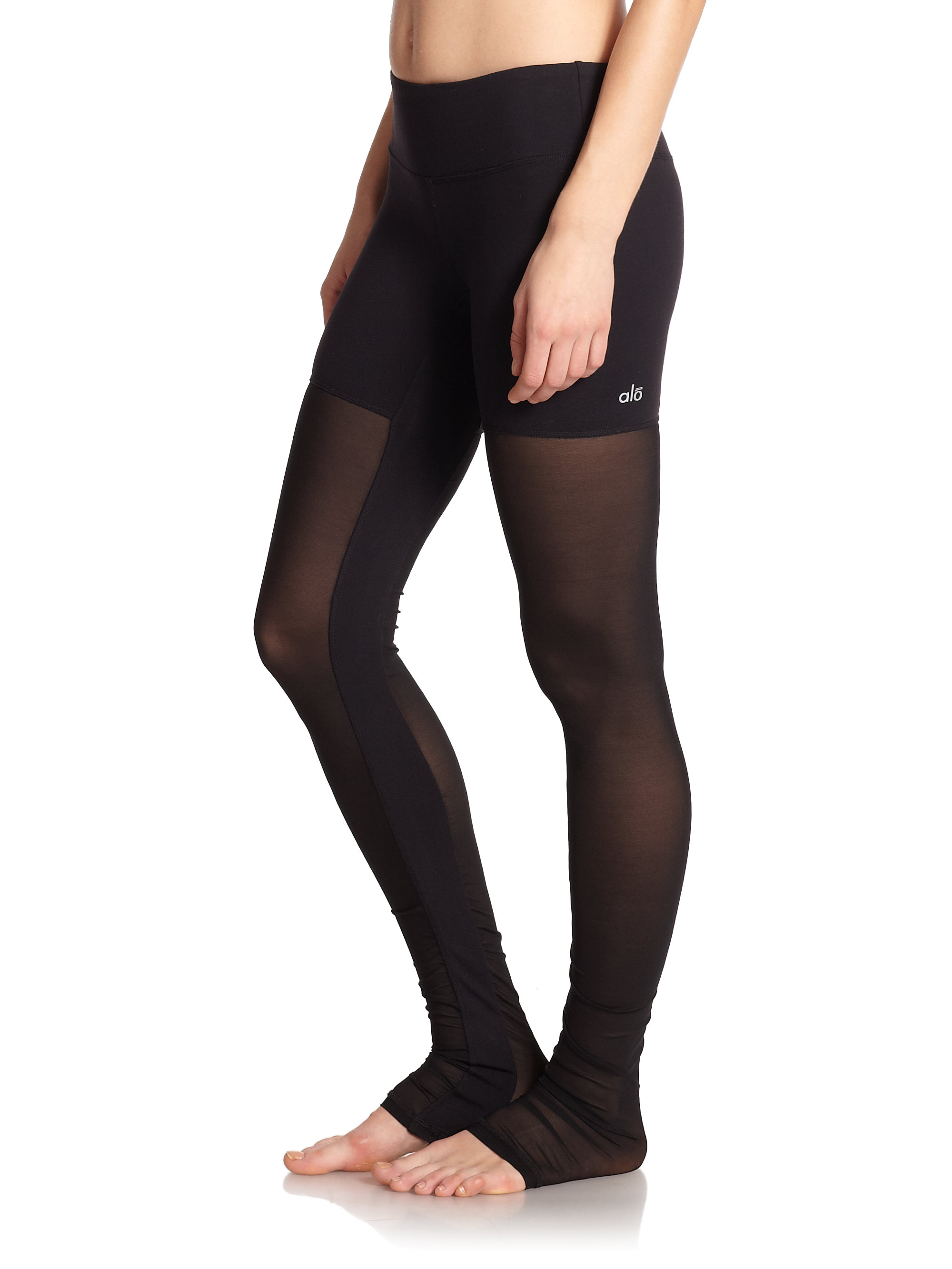 Alo yoga Mesh-Paneled Yoga Pants in Black | Lyst
