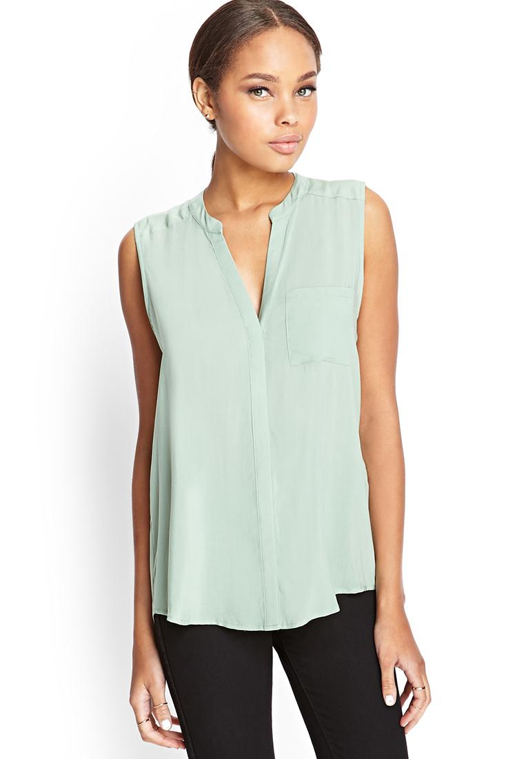 Forever 21 sleeveless mandarin collar shirt in green lyst for Sleeveless white shirt with collar