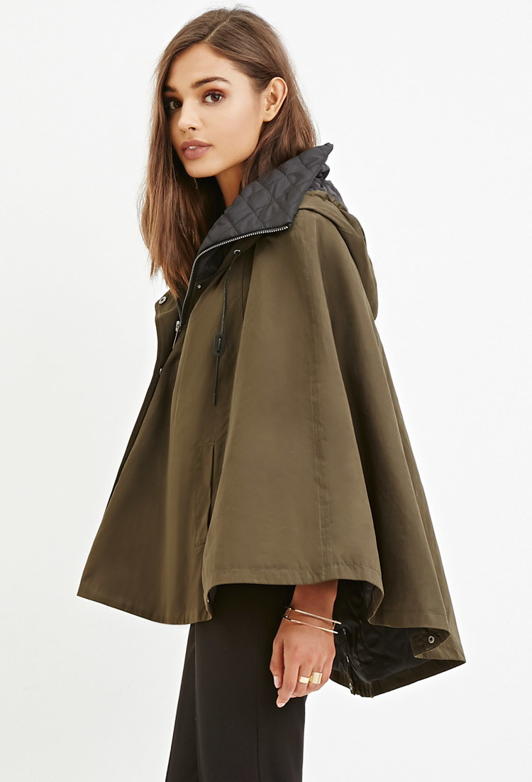 Forever 21 Hooded Poncho Jacket in Green