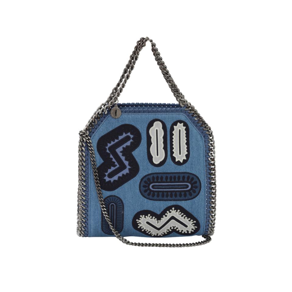 Stella mccartney denim embroidered shoulder bag in blue lyst