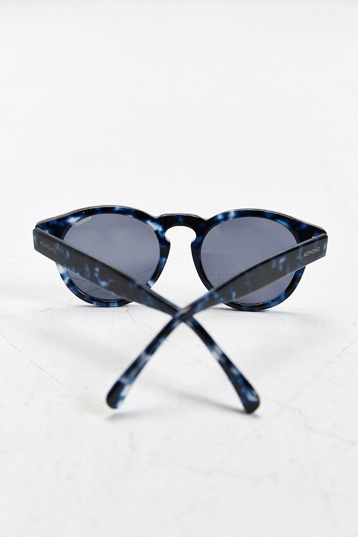 Komono Clement Round Sunglasses  komono crafted clement blue tortoise round sunglasses in blue for