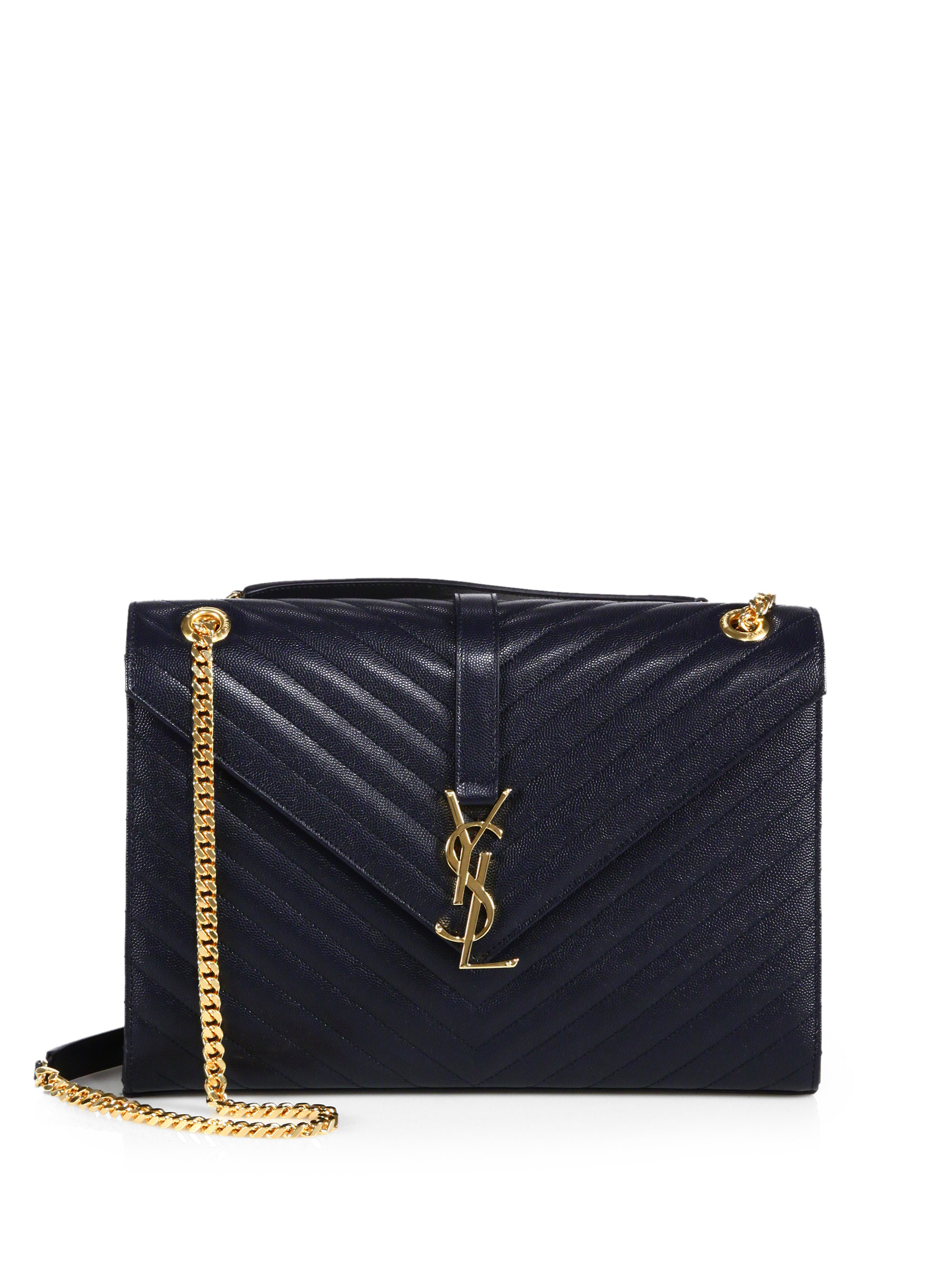 saint laurent large monogram matelasse leather chain shoulder bag in blue