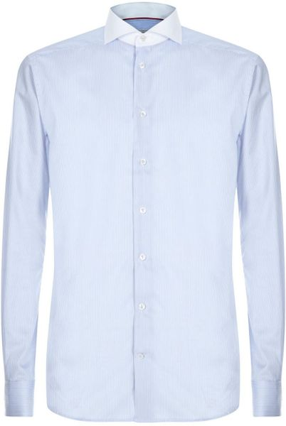 Eton Of Sweden Light Blue And White Pinstripe Cotton Shirt