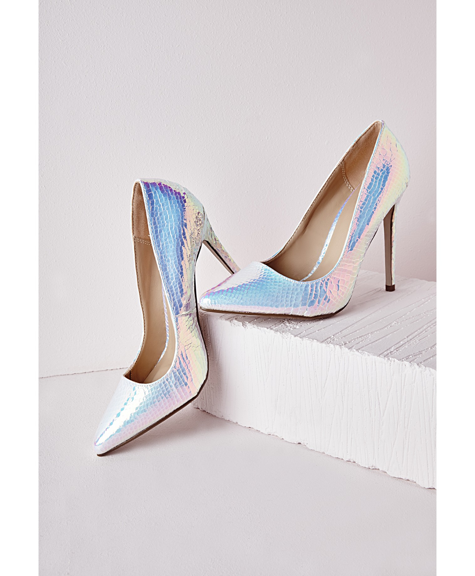 Stiletto Heel Court Shoes White Holographic