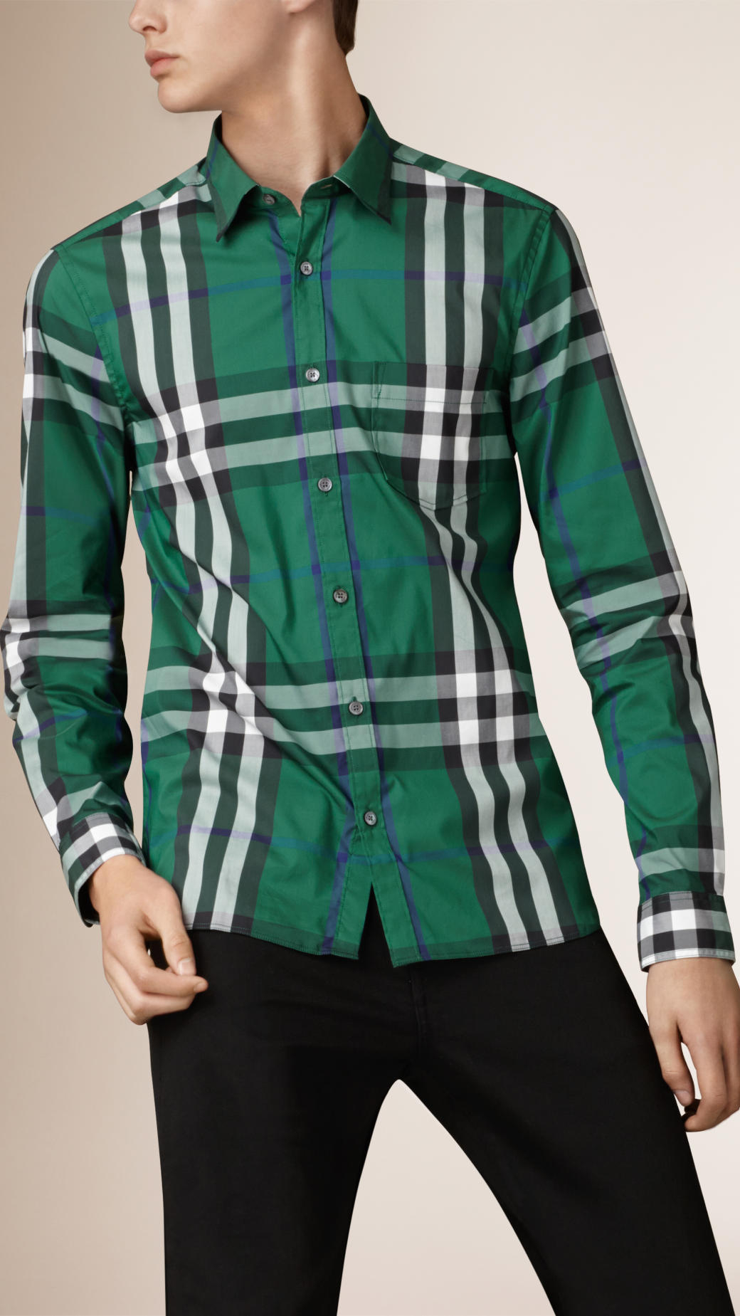 Lyst burberry check stretch cotton blend shirt in green for Burberry brit green plaid shirt