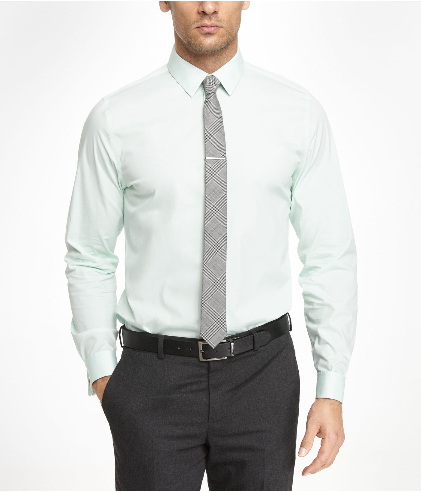 Express Modern Fit 1mx French Cuff Shirt In Green For Men