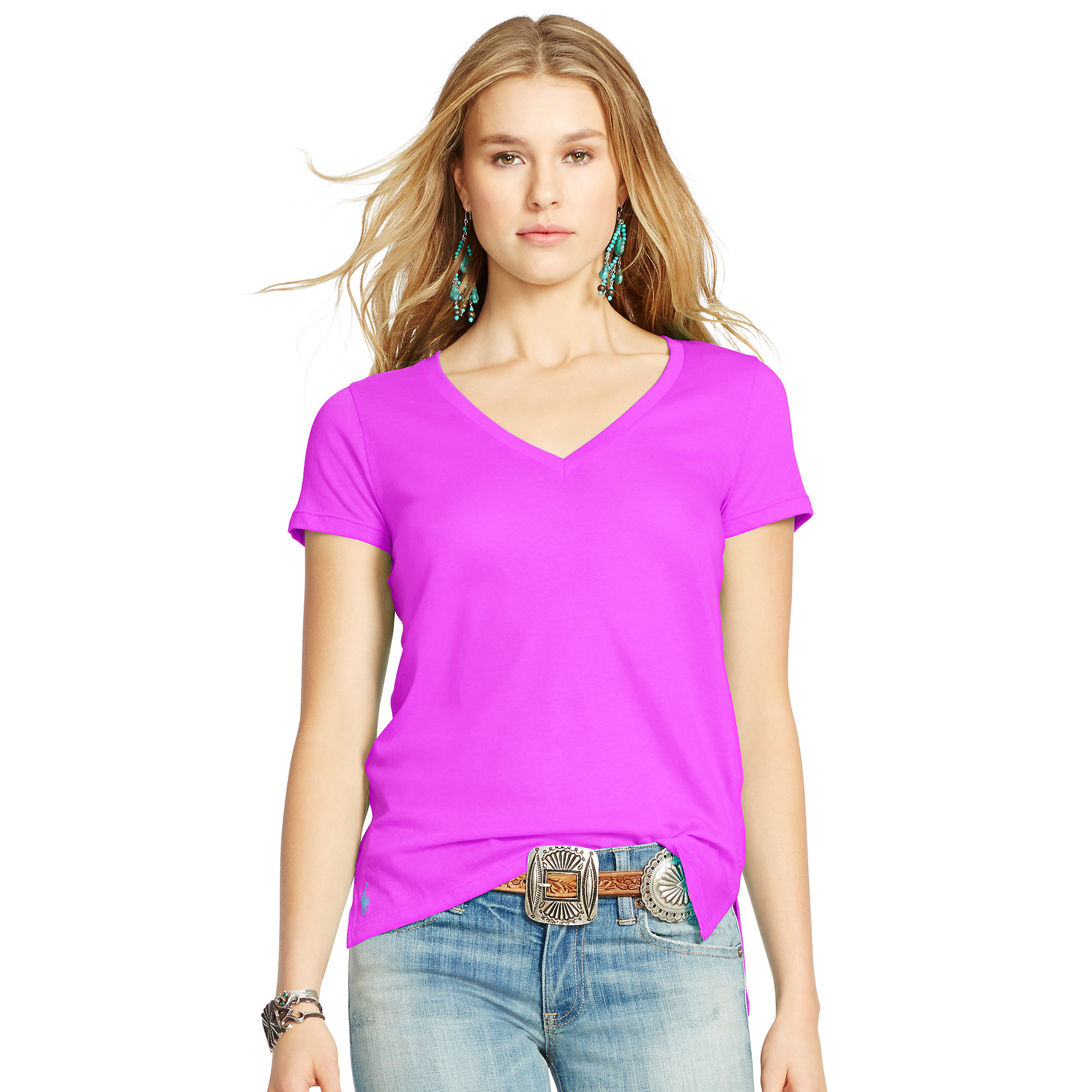 2f18ec0dc5a Polo Ralph Lauren Cotton Jersey V-neck Tee in Pink - Lyst
