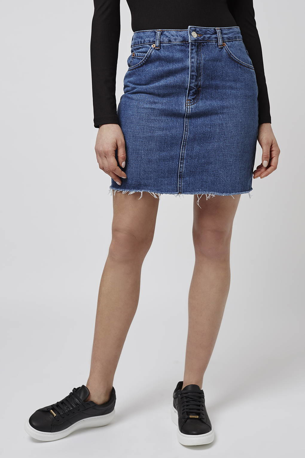 topshop moto high waisted skirt in blue mid lyst