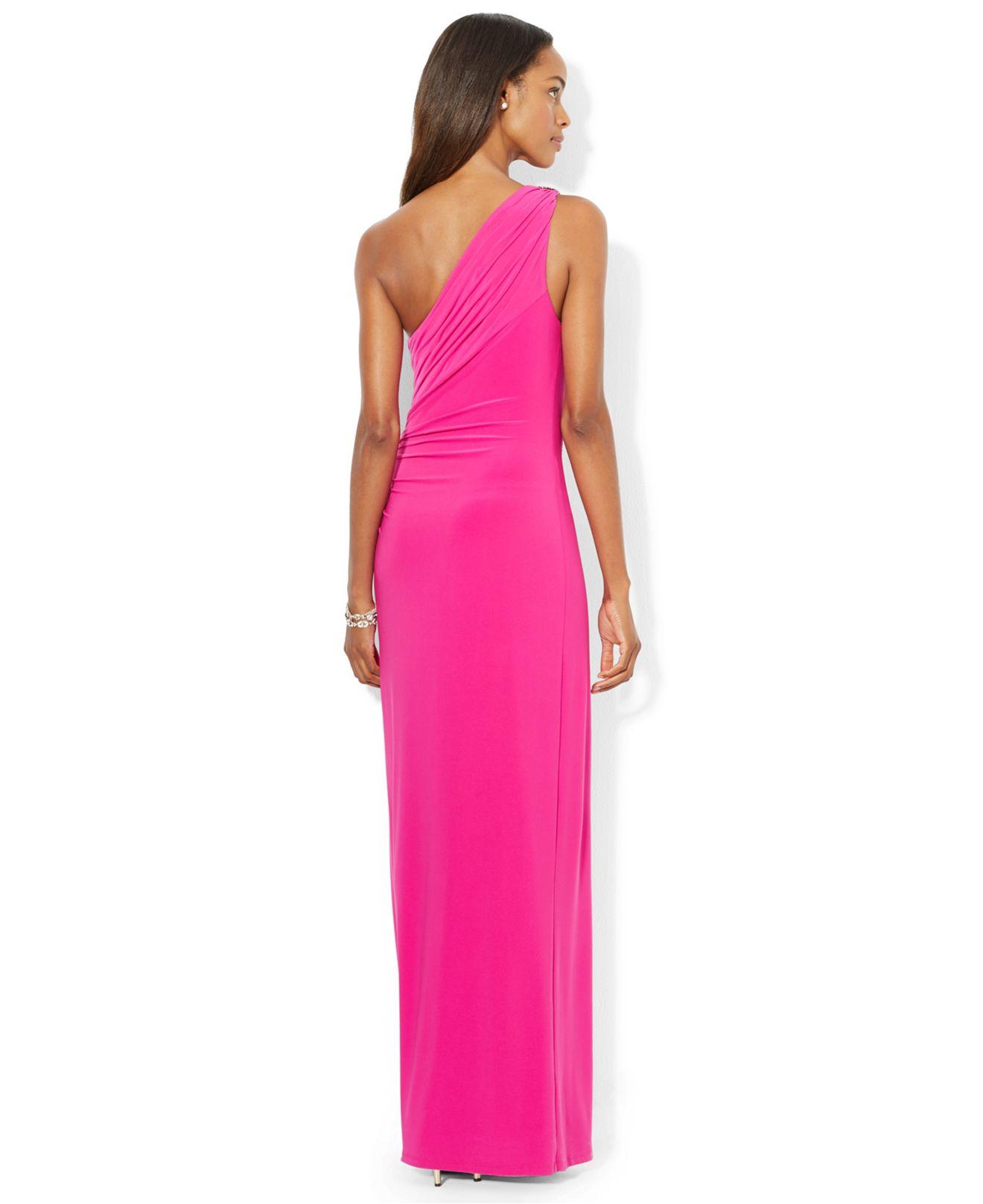 Lyst Lauren By Ralph Lauren One Shoulder Evening Gown In Pink