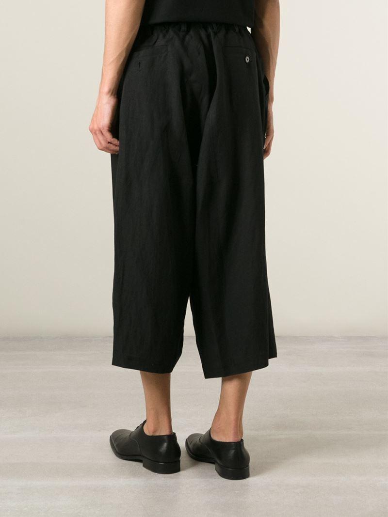 Yohji Yamamoto Wrap Cropped Trousers In Black For Men Lyst