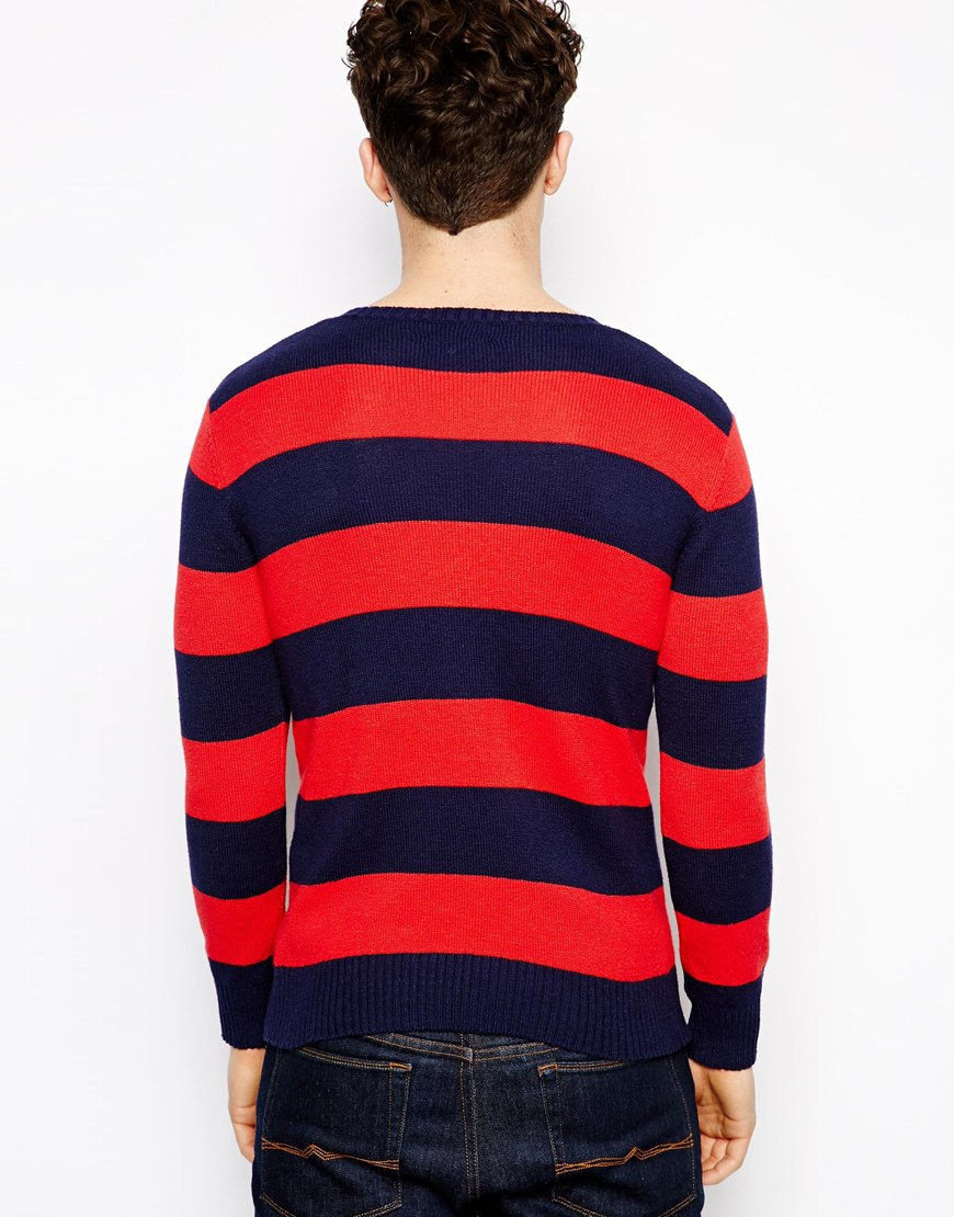 Gant rugger Crew Neck Striped Sweater in Red for Men | Lyst
