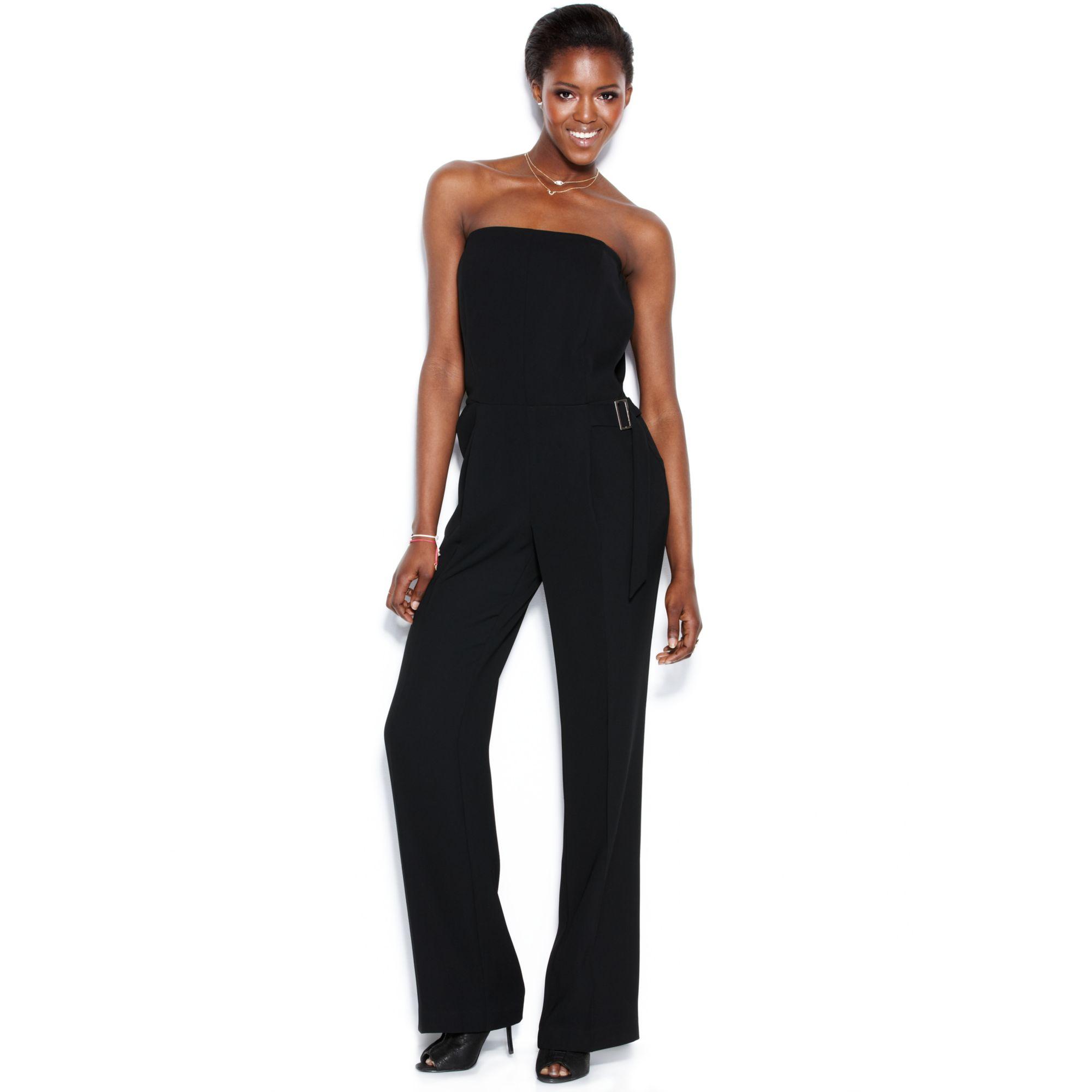 2ad0a2938d37 Lyst - RACHEL Rachel Roy Strapless Wideleg Jumpsuit in Black