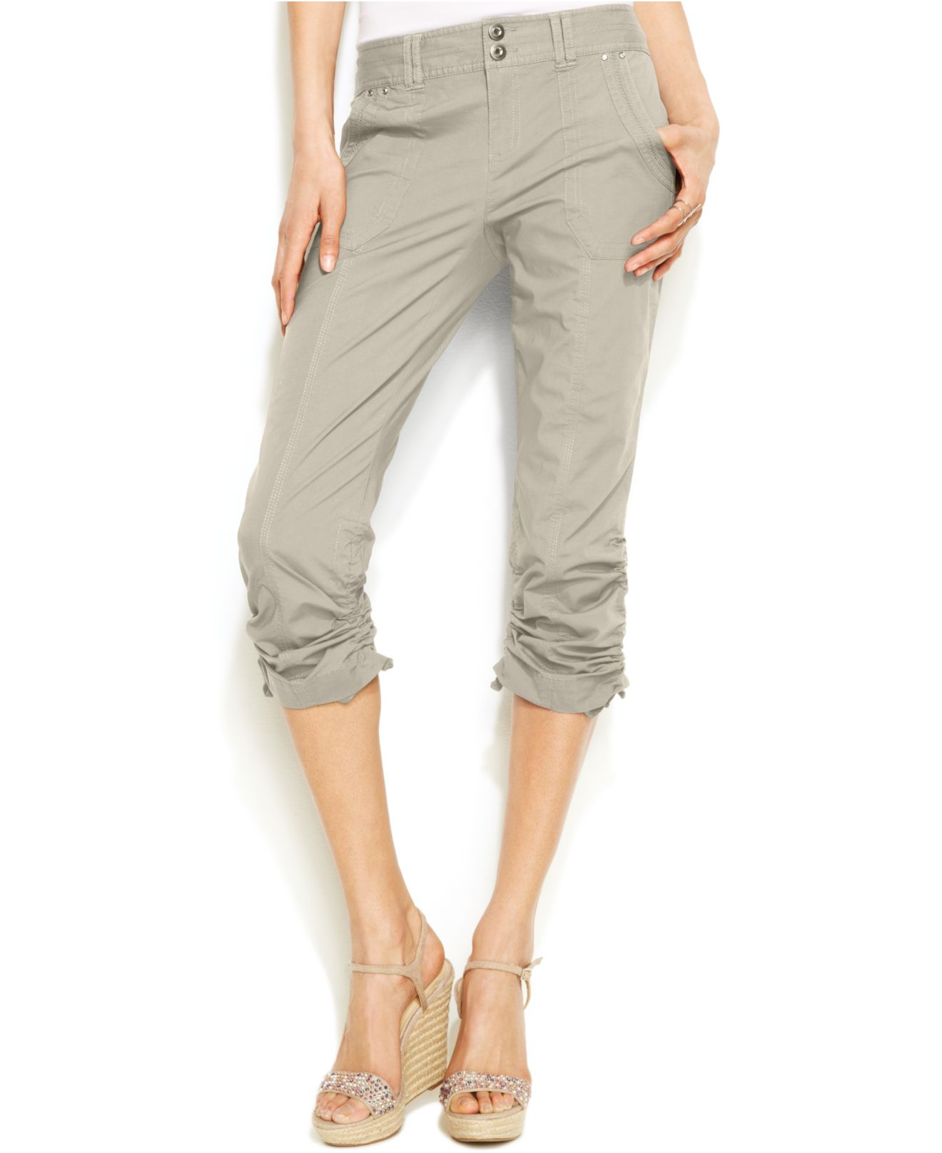 Inc international concepts Curvy-fit Ruched Capri Pants in Natural ...
