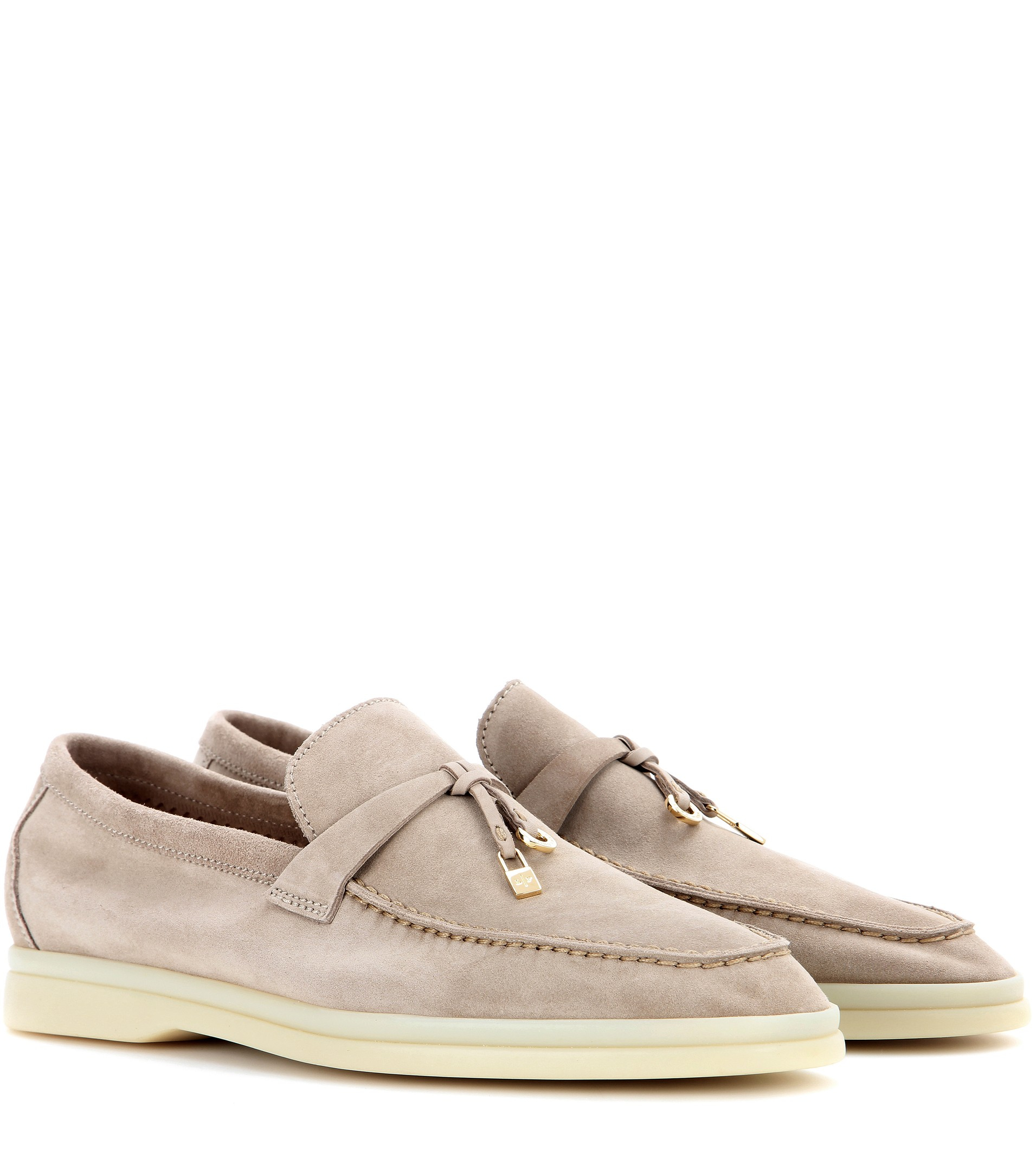 Lyst Loro Piana Summer Charms Walk Suede Loafers In Natural