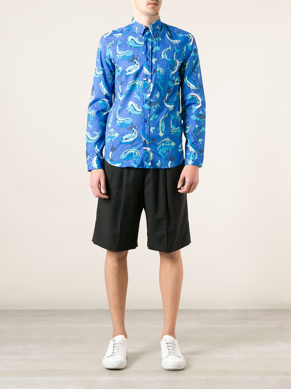 Kenzo Fish Print Shirt In Blue For Men Lyst