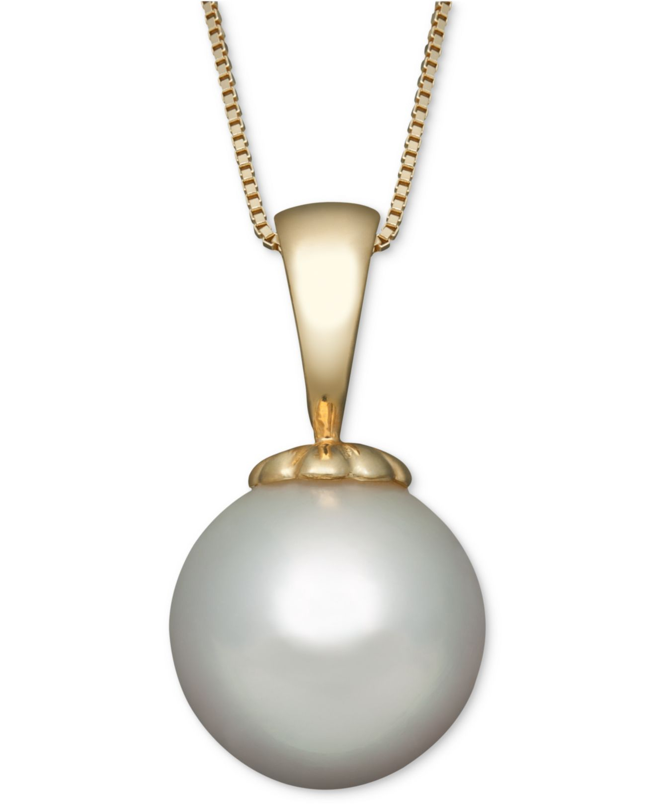 Lyst macys pearl necklace 14k gold white south sea pearl pendant gallery aloadofball Gallery
