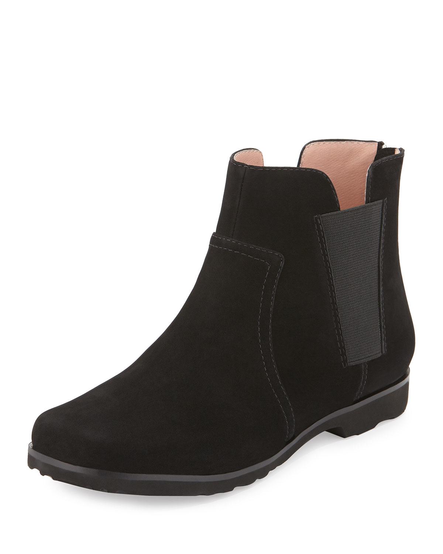 jervin flat nubuck ankle boot in black lyst