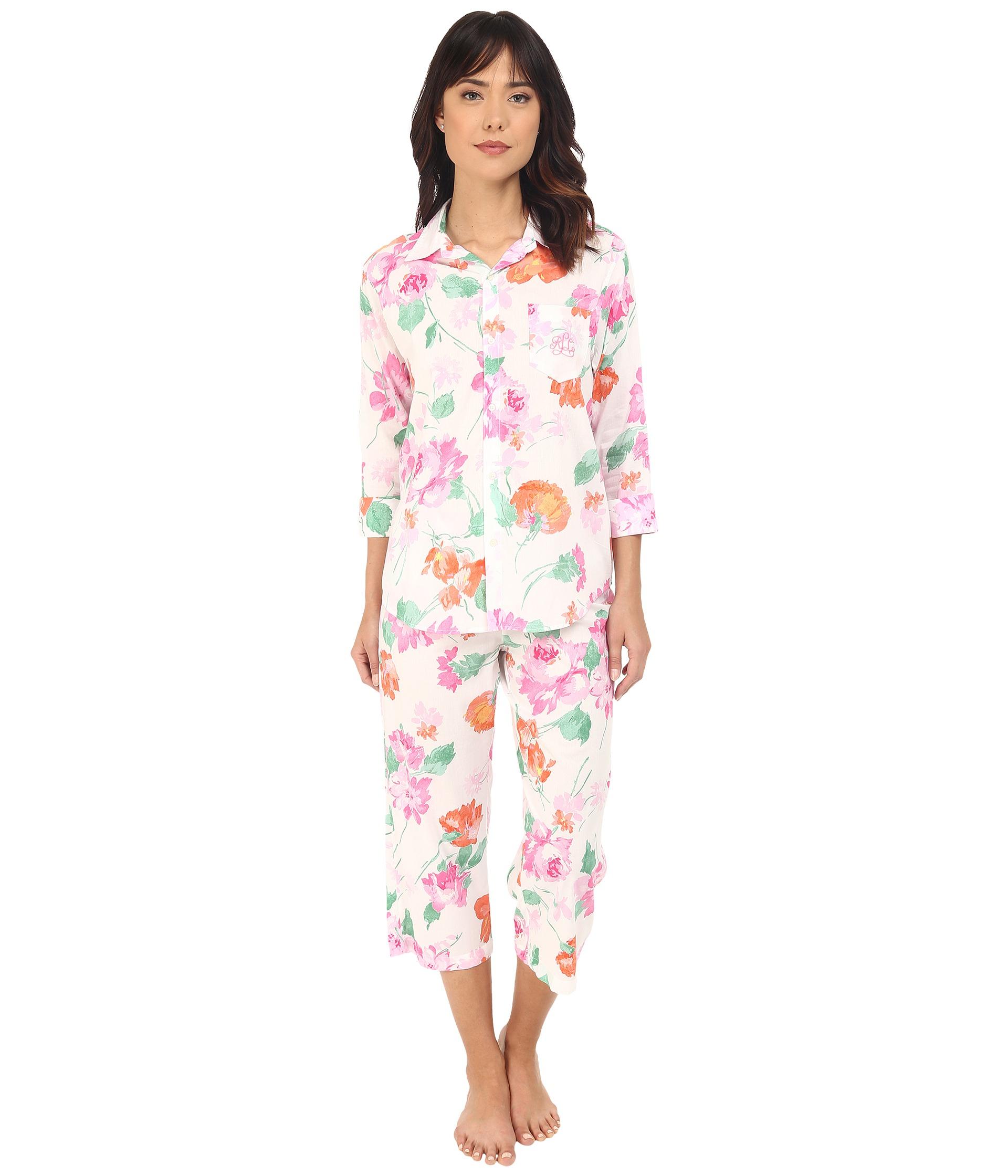 3b8d850ac35 Lauren by Ralph Lauren Cotton Lawn 3 4 Sleeve Capris Pajama Set - Lyst