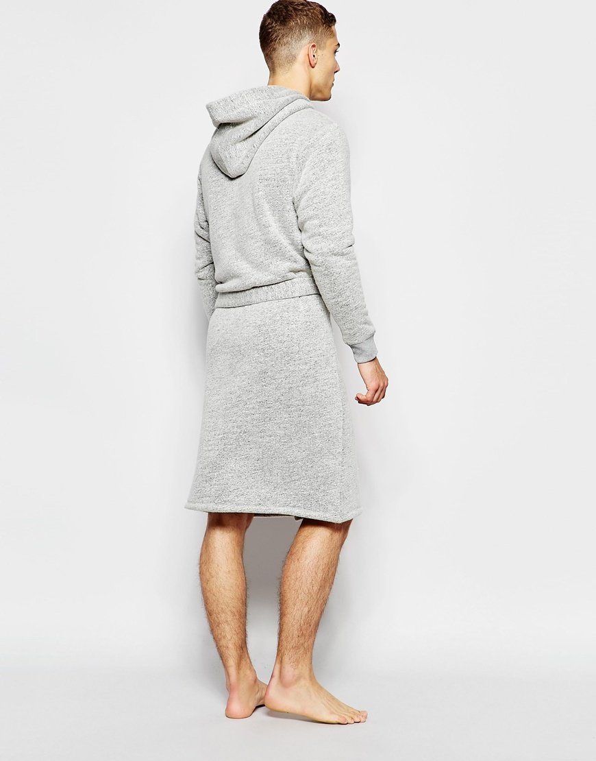 Lyst - Asos Loungewear Dressing Gown In Nepp Fabric With Borg Lining ...