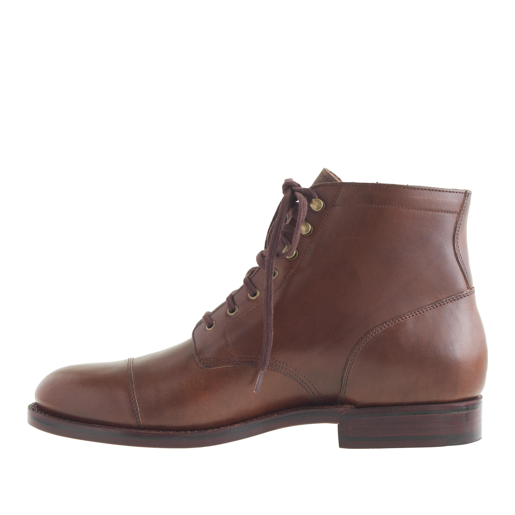 j crew ludlow cap toe boots in brown for brown