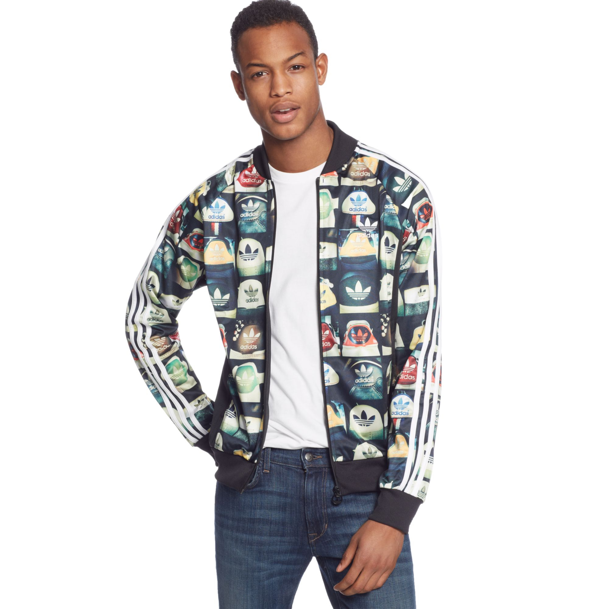 0675fe76079c adidas Originals Allover Print Superstar Track Jacket in Black for ...