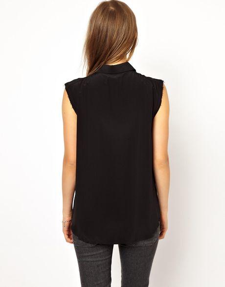 Mih jeans the sleeveless shirt in black blacksilk lyst for Black sleeveless shirt womens