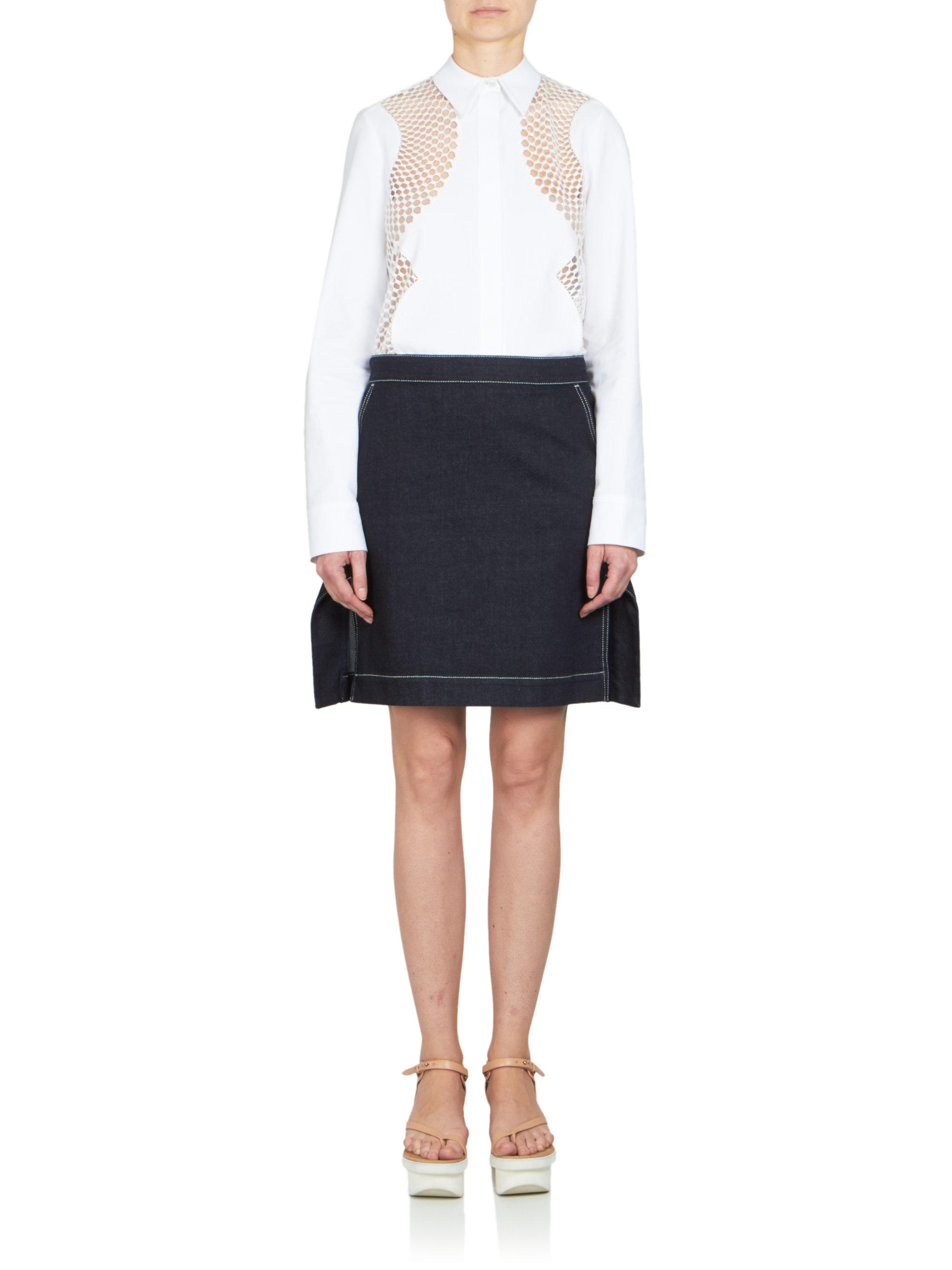 stella mccartney denim mini skirt in black lyst