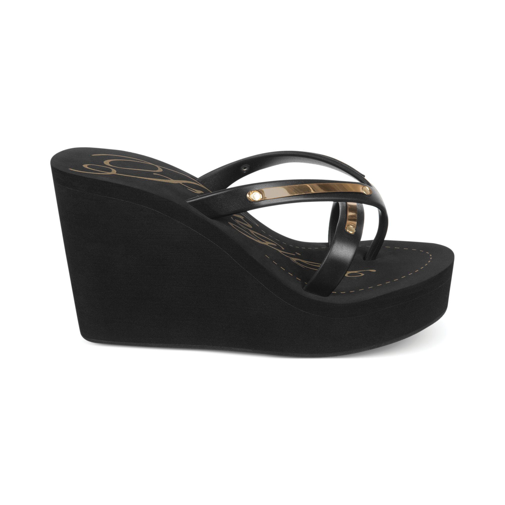 fergie eloise platform wedge sandals in black black