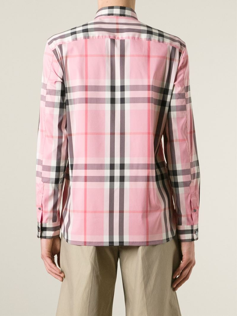 4e2267bf7ea0 Lyst - Burberry Brit Checked Shirt in Pink for Men