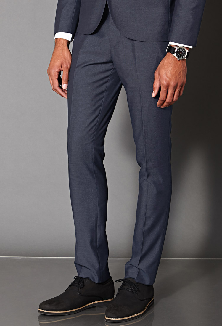 Forever 21 Slim Fit Suit Trousers in Blue for Men | Lyst