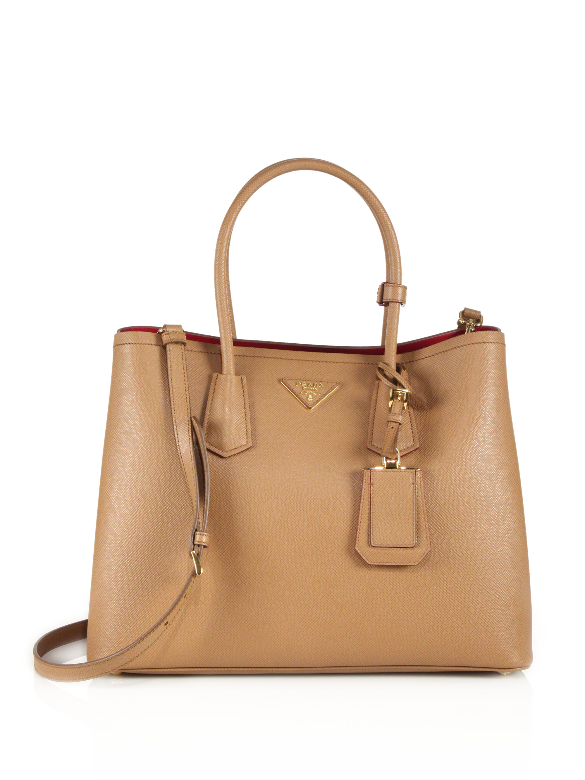 c755637444aaff Prada Saffiano Cuir Medium Double Bag in Brown (caramel fuoco) | Lyst prada  galleria bag caramel