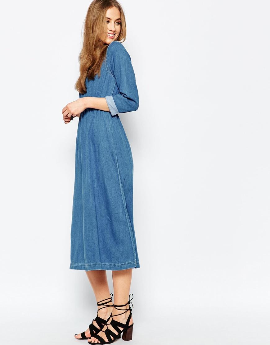 Lyst - Warehouse Denim Midi Dress in Blue
