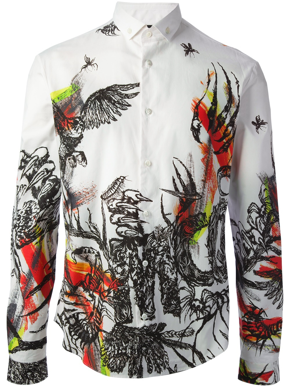 Lyst Mcq Insect And Bird Print Shirt In Black For Men