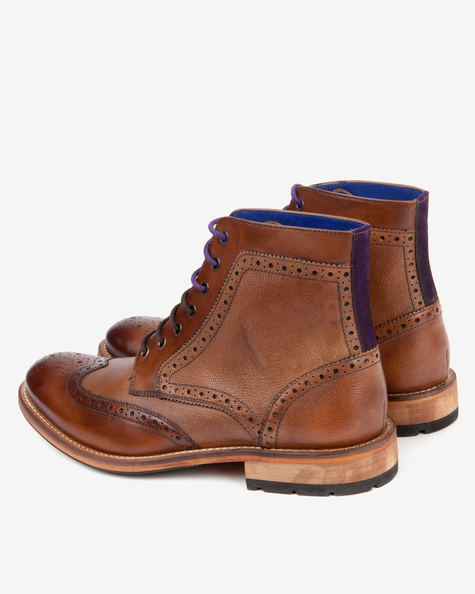ted baker leather wingtip brogue ankle boots in brown for