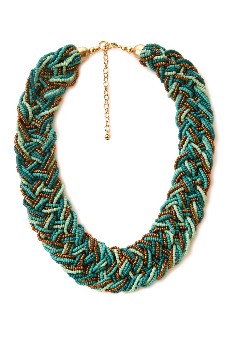 forever 21 eclectic braided bead necklace in blue lyst
