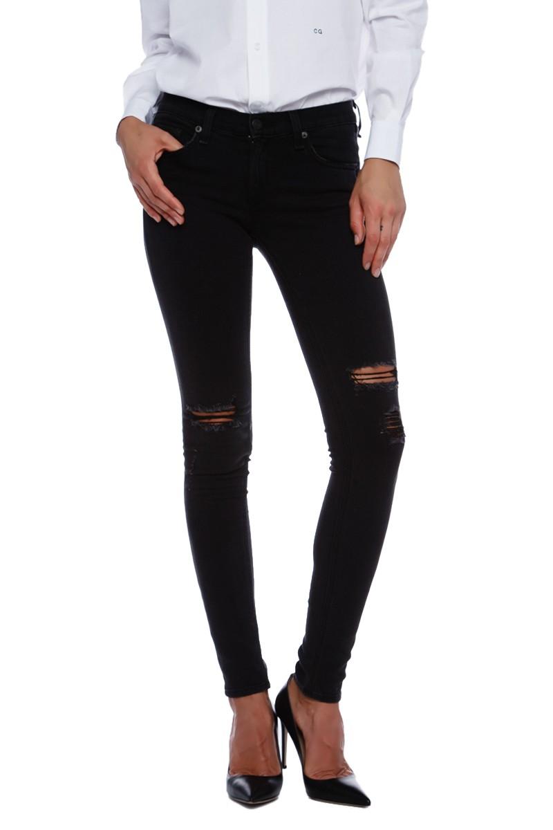 Rag u0026 bone Skinny Jeans With Holes in Black (ROCK) | Lyst