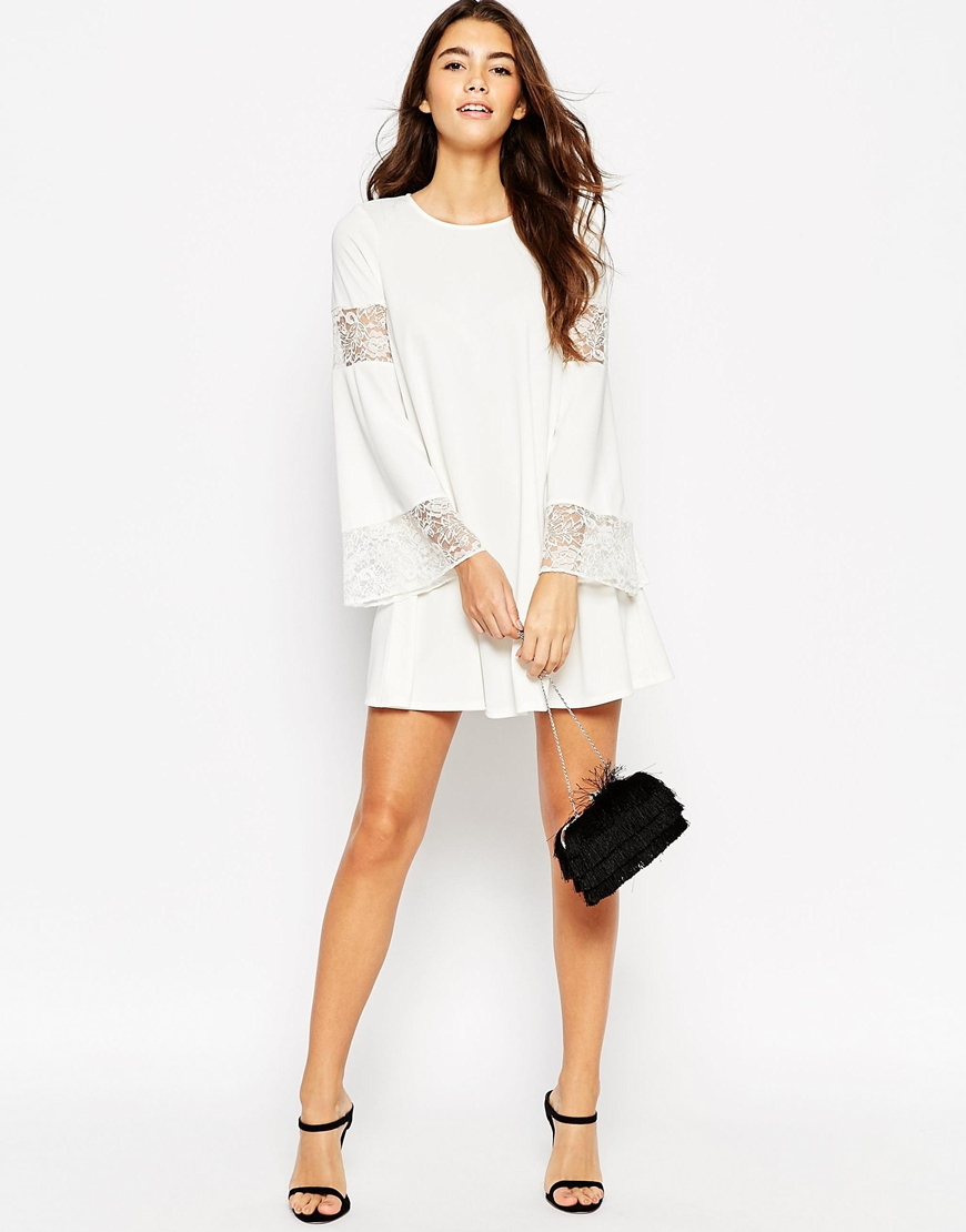 Asos Boho Swing Dress With Long Sleeve And Lace Inserts in White ...