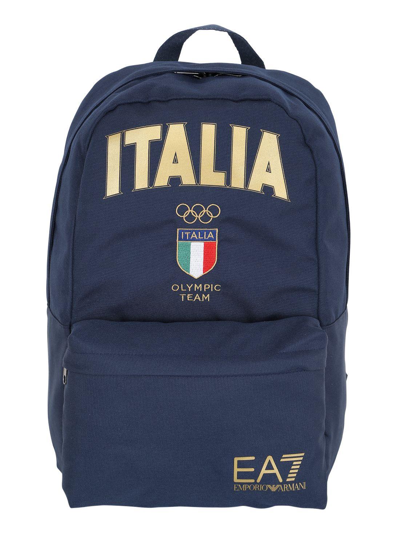 Ea7 Italian Team Nylon Corduroy Backpack In Blue For Men