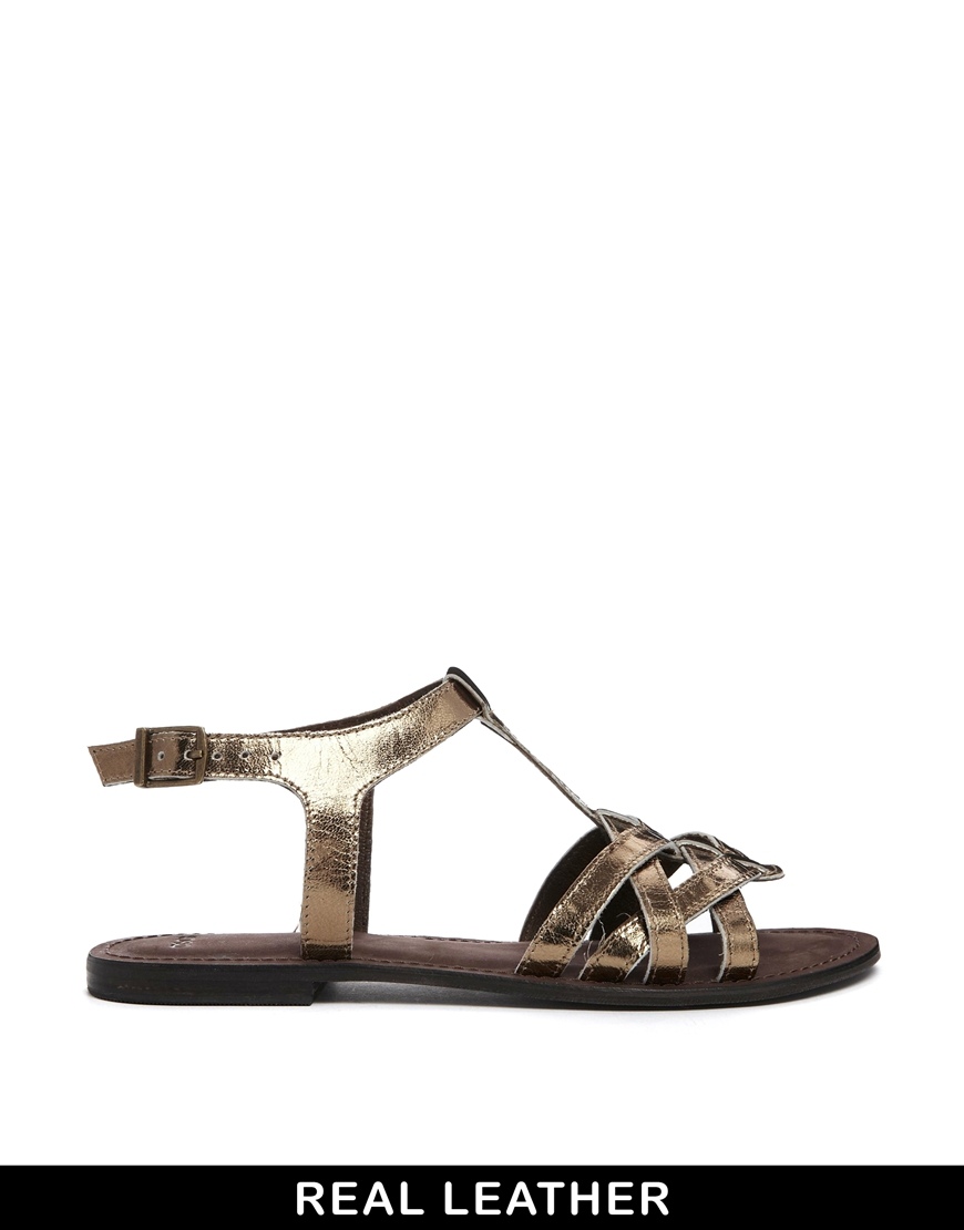 8735bfe6fa993a Lyst - ASOS Flightplan Leather Flat Sandals in Brown