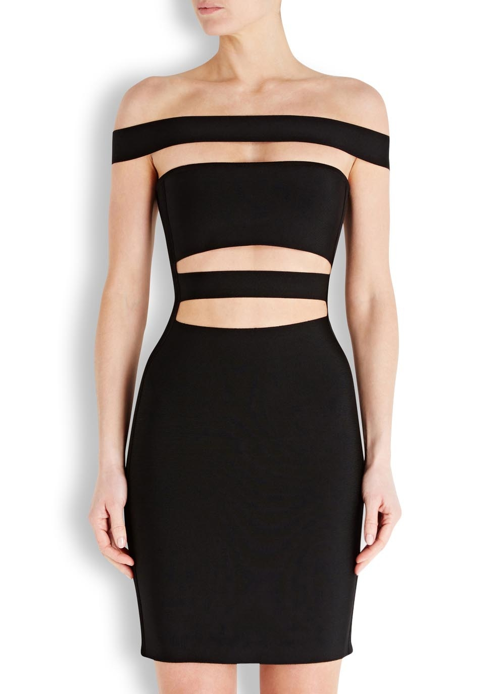 794b3d10 Balmain Black Cut-Out Off The Shoulder Dress in Black - Lyst