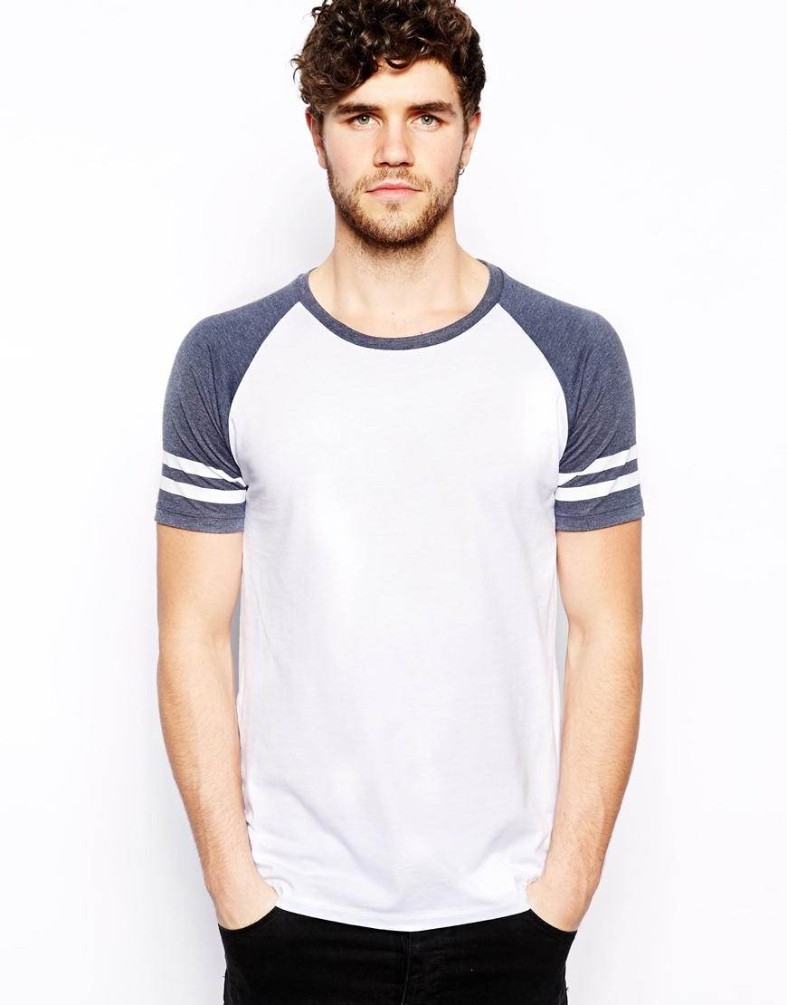 Asos tshirt with contrast raglan stripe sleeves in blue for Short sleeve t shirts with longer sleeves