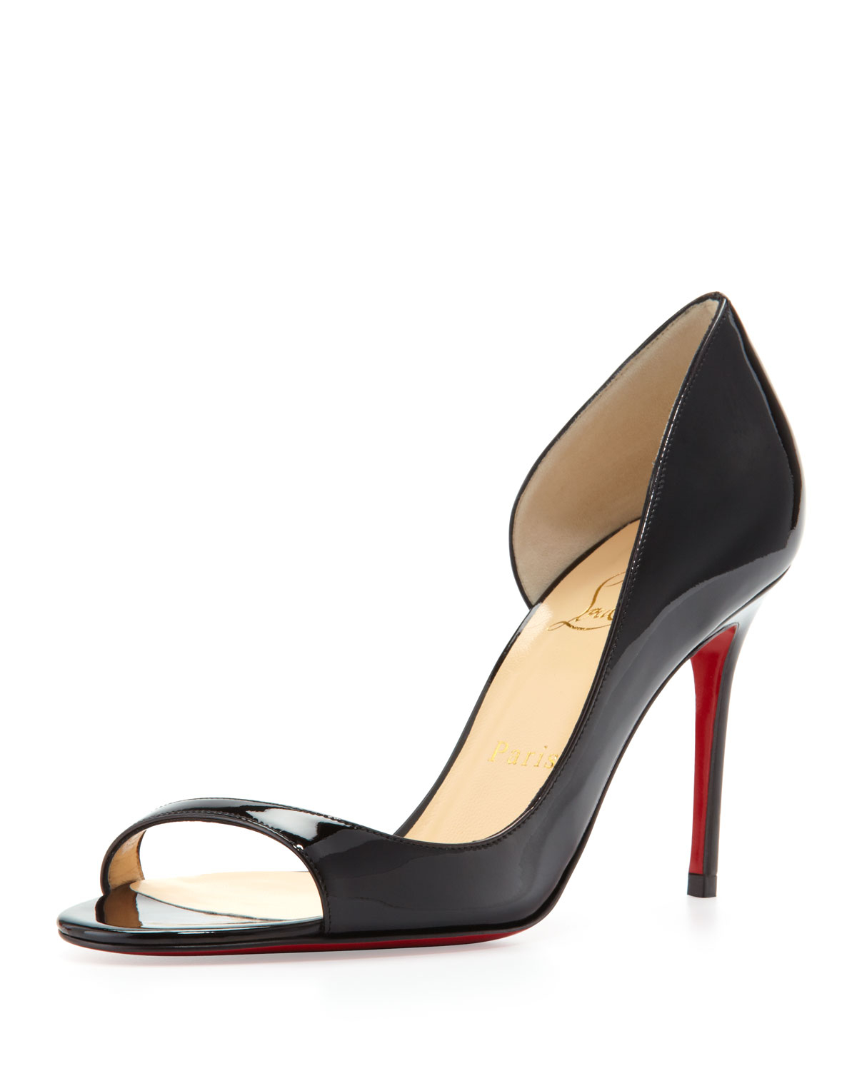 buy replica shoes online - christian louboutin peep-toe d'Orsay pumps Black patent leather ...