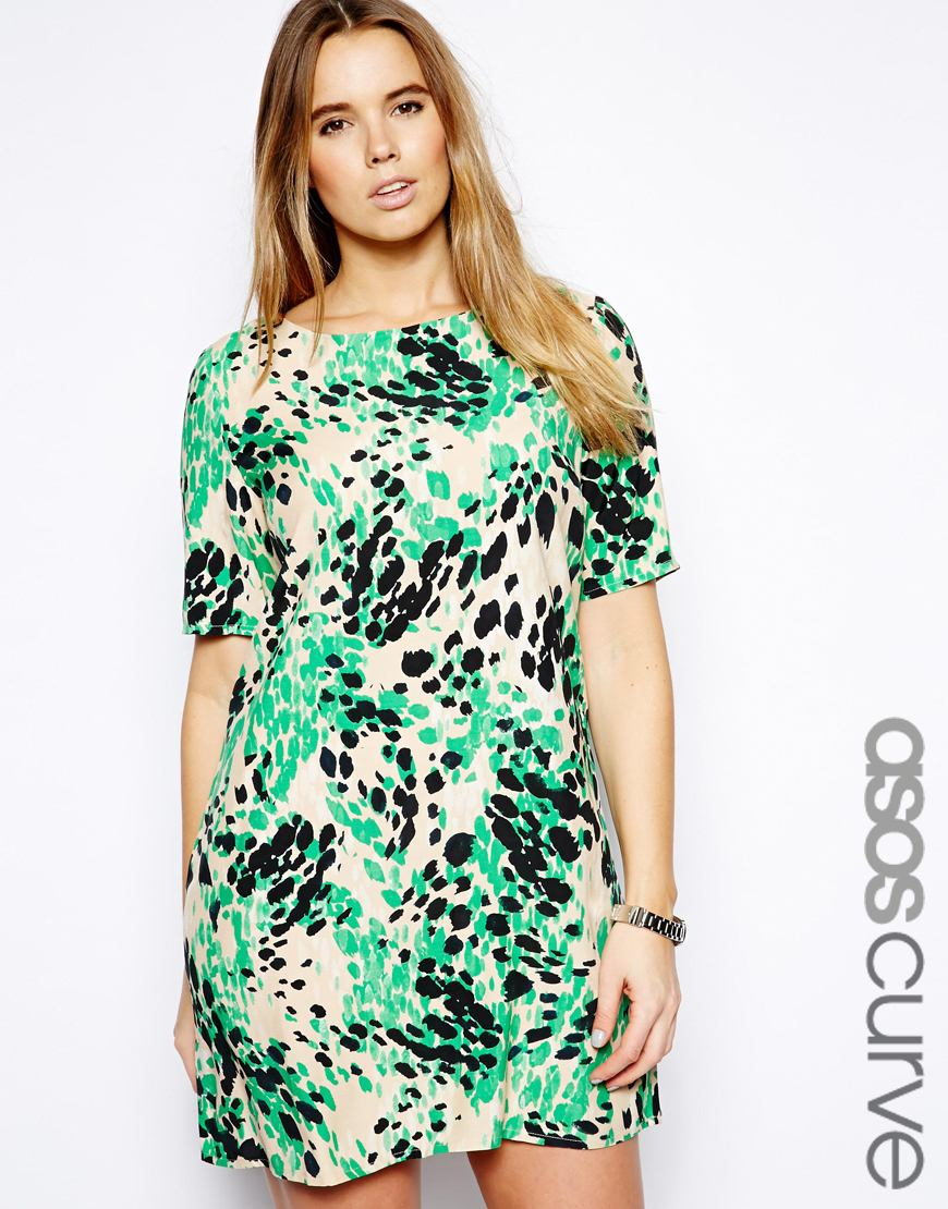 018ddf94ed05 ASOS Shift Dress In Animal Print in Green - Lyst
