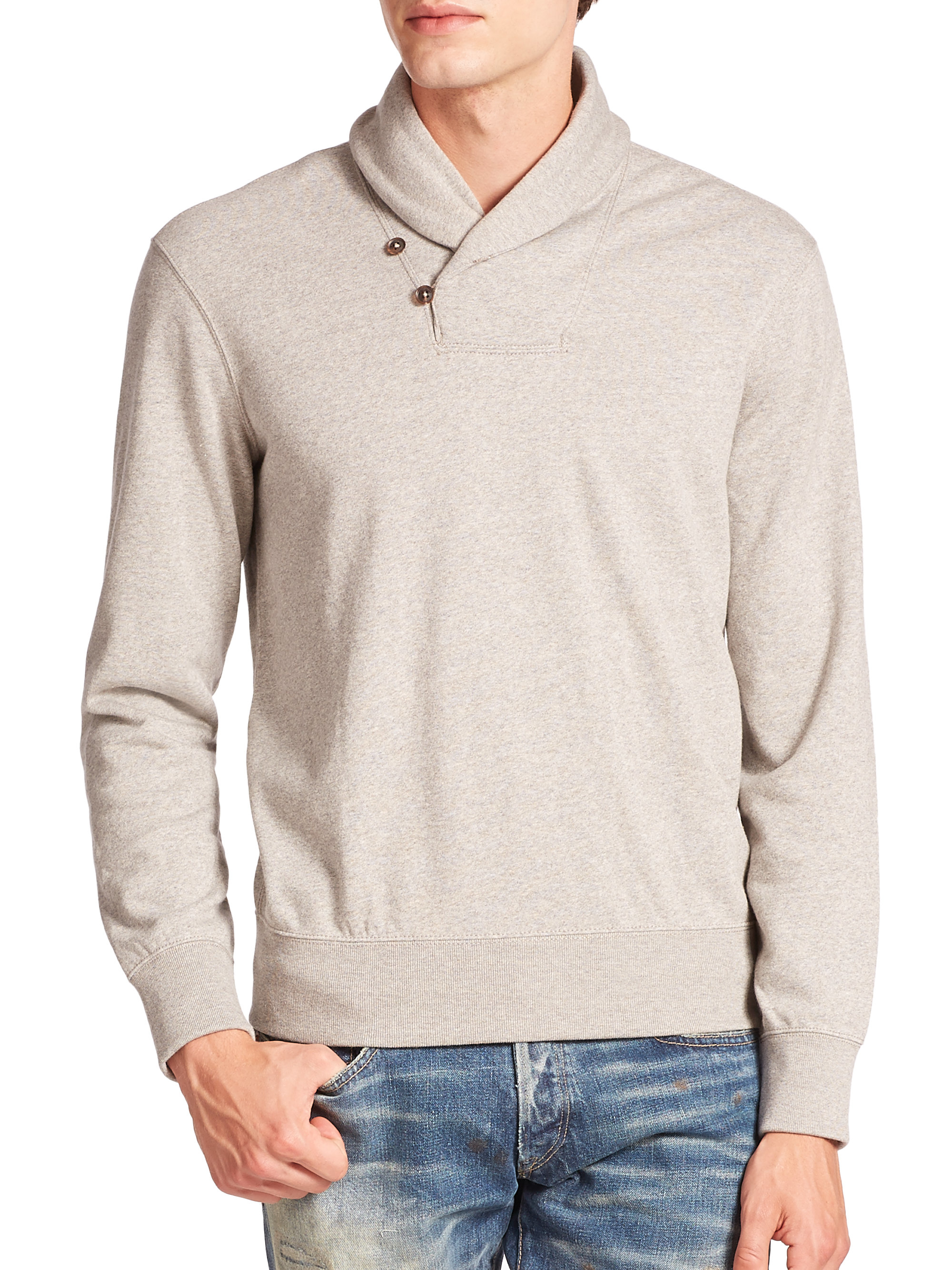 polo ralph lauren shawl collar fleece pullover in gray for men lyst. Black Bedroom Furniture Sets. Home Design Ideas