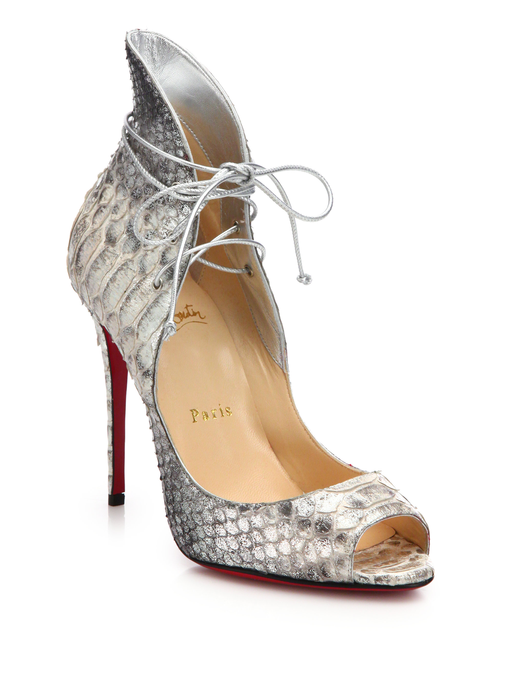 77b37905e69 Lyst - Christian Louboutin Megavamp Python-Embossed Leather Pumps in ...