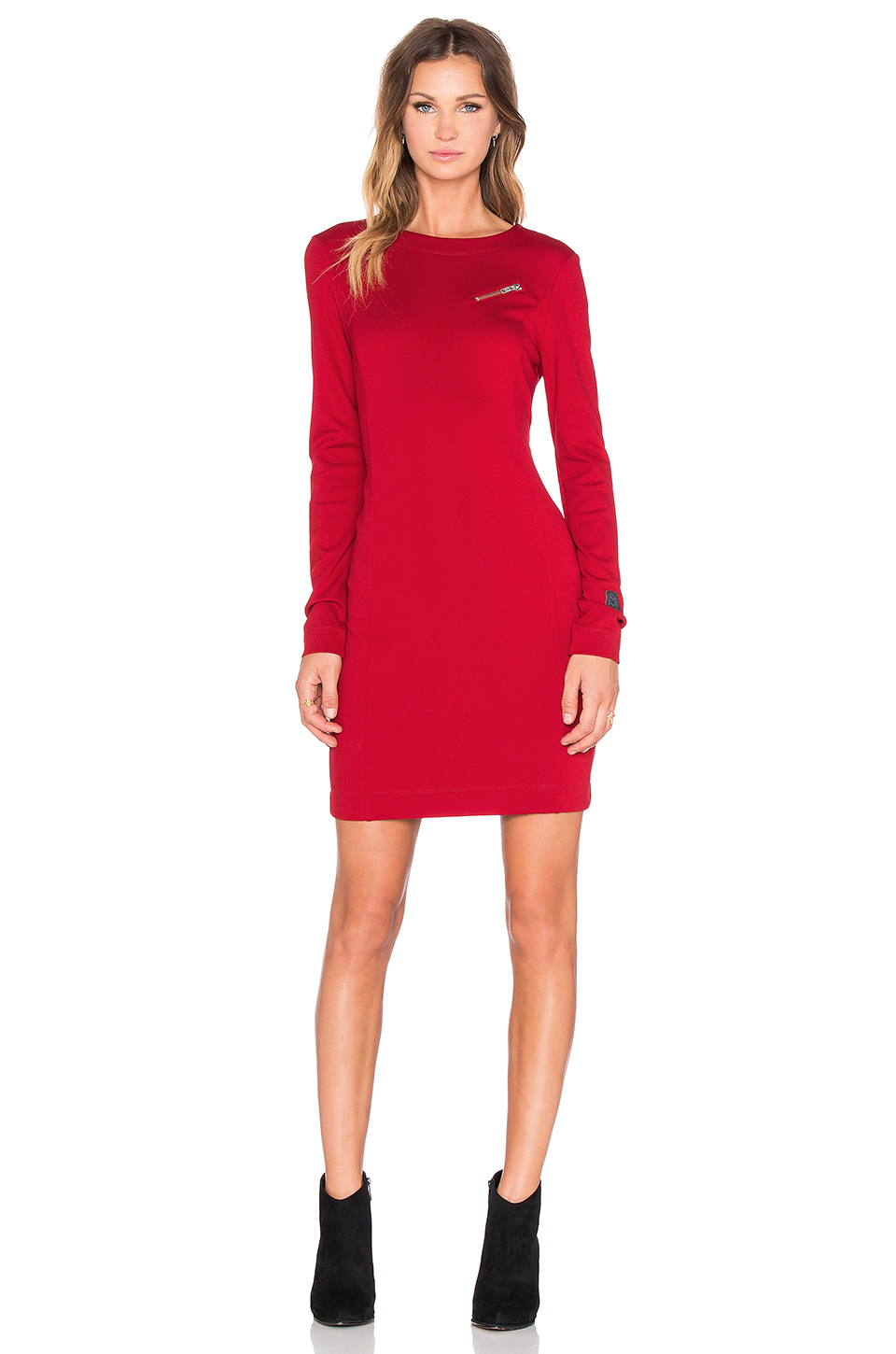Love moschino Long Sleeve Dress in Red | Lyst