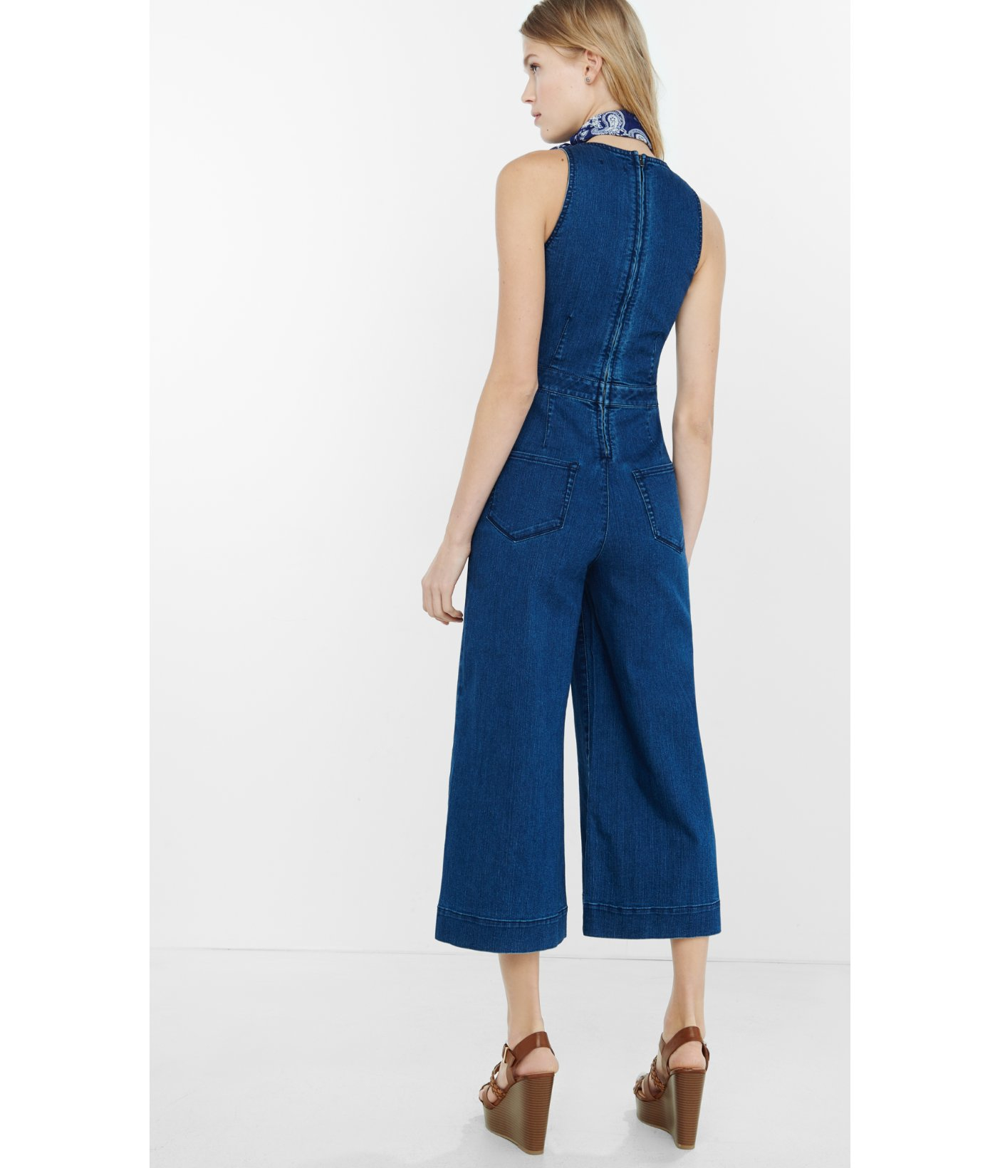 360be976fed Express Sleeveless Denim Cut-out Culotte Jumpsuit in Blue - Lyst