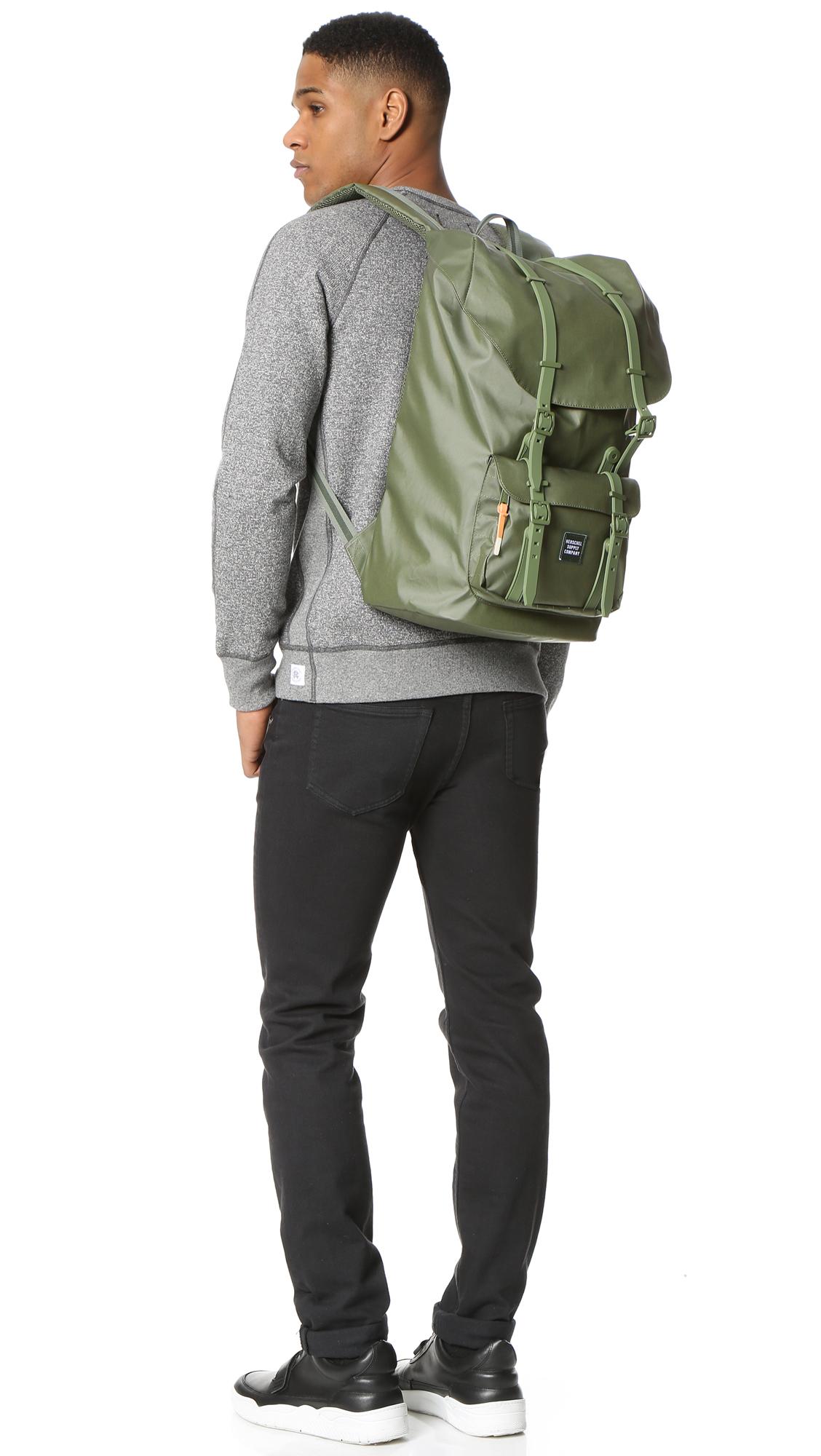 Lyst - Herschel Supply Co. Studio Little America Backpack in Green ... 65d0a4dbd5d04