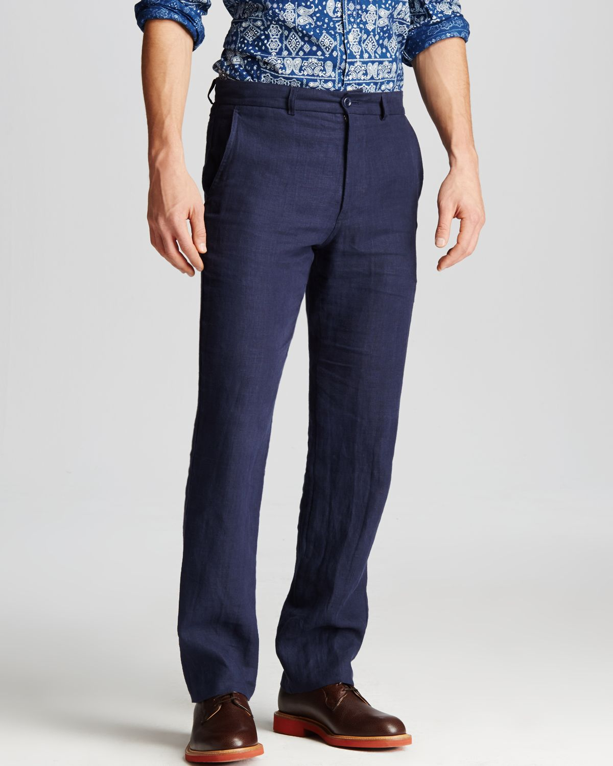 Freemans sporting club Linen Pants - Regular Fit in Blue for Men ...